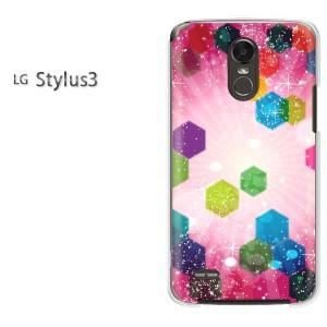 ゆうパケ送料無料スマホケース ハード LG Stylus3 クリア 星・キラキラ(ピンク)/stylus3-pc-new1373]