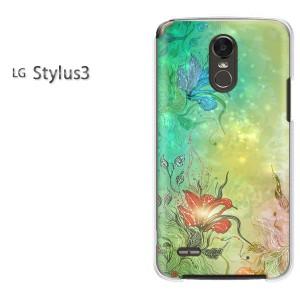 ゆうパケ送料無料スマホケース ハード LG Stylus3 クリア 花・キラキラ(グリーン)/stylus3-pc-new1389]