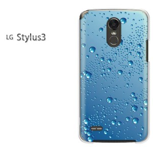 DM便送料無料スマホケース ハード LG Stylus3 クリア [シンプル・水滴(ブルー)/stylus3-pc-new1397]