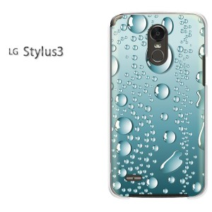ゆうパケ送料無料スマホケース ハード LG Stylus3 クリア シンプル・水滴(ブルー)/stylus3-pc-new1398]