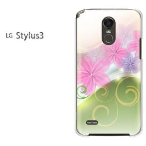 ゆうパケ送料無料スマホケース ハード LG Stylus3 クリア 花(ピンク)/stylus3-pc-new1748]