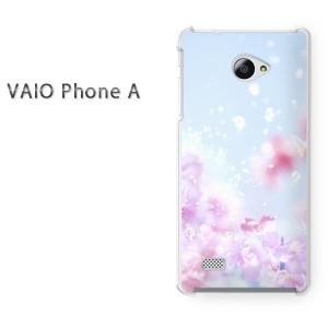 ゆうパケ送料無料スマホケース ハード VAIO Phone A クリア 花・桜(ブルー・ピンク)/vaiophonea-pc-new0440]