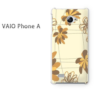 ゆうパケ送料無料スマホケース ハード VAIO Phone A クリア 花・チェック(ベージュ)/vaiophonea-pc-new1341]