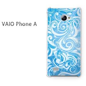 ゆうパケ送料無料スマホケース ハード VAIO Phone A クリア 花(ブルー)/vaiophonea-pc-new1412]