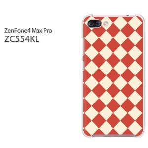 ゆうパケ送料無料スマホケース ハード ZenFone4 MAX Pro ZC554KL クリア [チェック・アーガイル(赤)/zc554kl-pc-new0926]