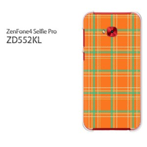 DM便送料無料スマホケース ハード ZenFone4 Selfie Pro ZD552KL クリア [チェック(オレンジ)/zd552kl-pc-new0872]