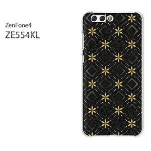 ゆうパケ送料無料スマホケース ハード ZenFone4 ZE554KL クリア  [シンプル・花(黒)/ze554kl-pc-ne172]