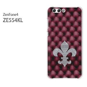 ゆうパケ送料無料スマホケース ハード ZenFone4 ZE554KL クリア  [ユリの紋章・シンプル(赤)/ze554kl-pc-ne309]