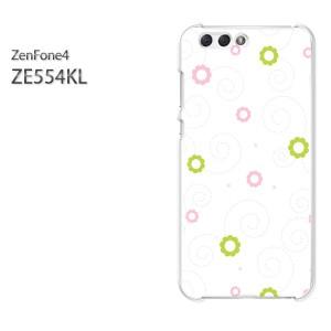 ゆうパケ送料無料スマホケース ハード ZenFone4 ZE554KL クリア [花(ピンク・グリーン)/ze554kl-pc-new0027]
