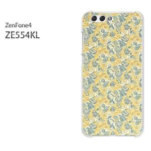 ゆうパケ送料無料スマホケース ハード ZenFone4 ZE554KL クリア 花(黄・ブルー)/ze554kl-pc-new0192]