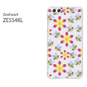 ゆうパケ送料無料スマホケース ハード ZenFone4 ZE554KL クリア 【蜂・フラワー112/ze554kl-PM112】