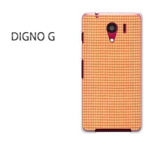 ゆうパケ送料無料スマホケース ハード DIGNO G クリア チェック(オレンジ)/dignog-pc-new0287]