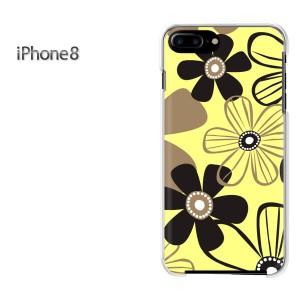 iPhone8 iphone8 ケース ハードカバー プリント ゆうパケ送料無料 クリア 花・シンプル(黄)/i8-pc-new1735]