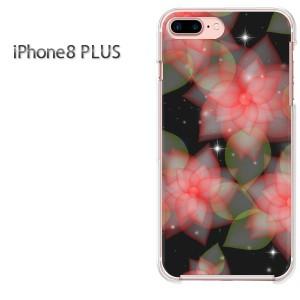 iPhone8plusPlus 8プラス ケース ハードカバー プリント ゆうパケ送料無料 クリア 花(黒)/i8plus-pc-new0693]