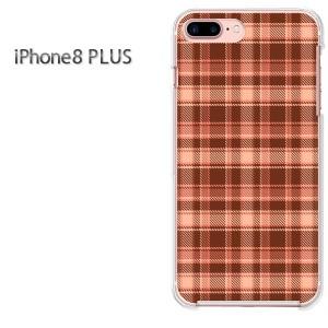 iPhone8plusPlus 8プラス ケース ハードカバー プリント ゆうパケ送料無料 クリア チェック(オレンジ)/i8plus-pc-new0883]