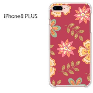 iPhone8plusPlus 8プラス ケース ハードカバー プリント ゆうパケ送料無料 クリア 花・レトロ(赤)/i8plus-pc-new1723]