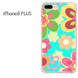 iPhone8plusPlus 8プラス ケース ハードカバー プリント ゆうパケ送料無料 クリア 花・レトロ(ブルー)/i8plus-pc-new1755]