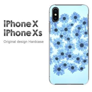 iPhoneX iphonex ケース ハードカバー プリント ゆうパケ送料無料 クリア 花(ブルー)/ix-pc-new0035]