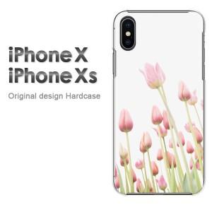 iPhoneX iphonex ケース ハードカバー プリント ゆうパケ送料無料 クリア 花・チューリップ(ピンク)/ix-pc-new1551]