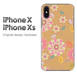 iPhoneX iphonex ケース ハードカバー プリント ゆうパケ送料無料 クリア 花・レトロ(ブラウン)/ix-pc-new1722]