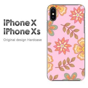 iPhoneX iphonex ケース ハードカバー プリント ゆうパケ送料無料 クリア 花・レトロ(ピンク)/ix-pc-new1724]