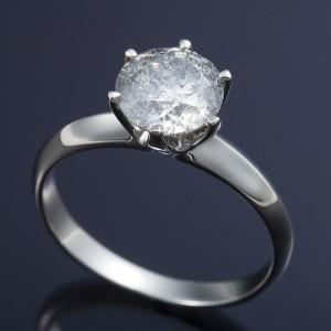 プラチナPt900 超大粒1.5ctダイヤリング 指輪 (鑑定書付き)  17号 送料無料!