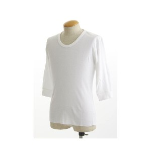 米軍 ドッグタグ付き コットンサーマルUネックシャツ 五分袖 ホワイト Lサイズ