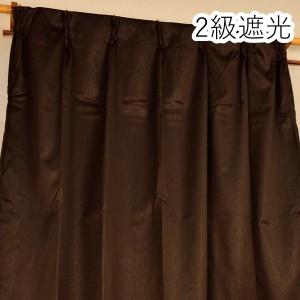 シンプル遮光カーテン/目隠し 【2枚組 100×200cm/ブラウン】 洗える 『フィリー』
