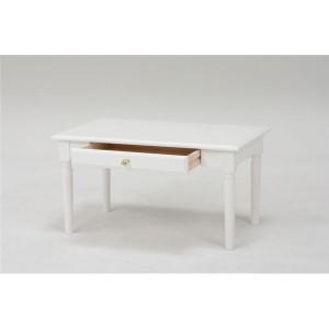 シンプルセンターテーブル/ローテーブル 【幅75cm】 木製 クリスタル調取っ手/引き出し付き ホワイト(白) 【代引不可】 送