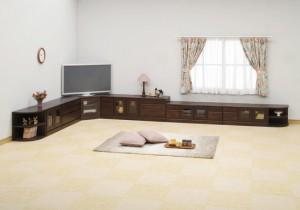 2段コーナー家具/リビングボード 【幅75cm】 木製(天然木) 扉収納付き 日本製 ダークブラウン 【完成品 開梱設置】【代引
