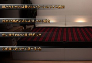 棚 照明付ラインデザインベッド WK220(S+SD) 二つ折りボンネルコイルマットレス付 ダークブラウン  【代引不可】 送料
