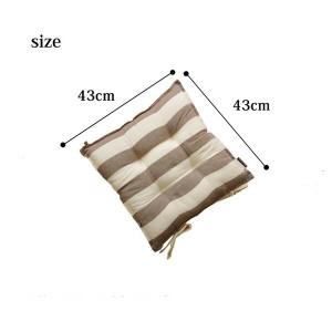 クッション 椅子用 シート ボーダー 綿100% シンプル 『ロカ』 ベージュ 約43×43cm 2枚組
