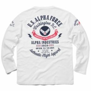 ALPHA アルファ TC1215 L/S ヘリンボーン プリント Tシャツ【クーポン対象外】