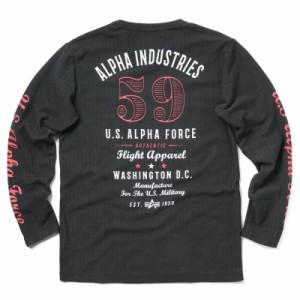 ALPHA アルファ TC1215 L/S ヘリンボーン プリント Tシャツ