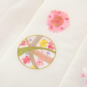 七五三 3歳 レンタル 女の子 被布着物10点セット「赤地に桜と鞠/被布:白」