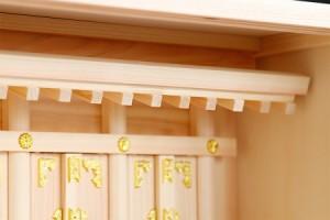壁掛け■特小サイズ和織物の御簾付き 箱宮三社■■錦柄■■ 神棚