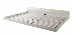 送料無料 単品 ワイドレザーフロアベッド 用 ベッドフレームのみ ブラック クイーンサイズベッド 黒