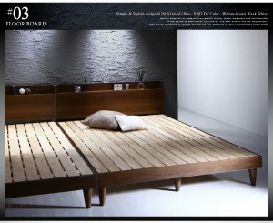 送料無料 棚・コンセント付きデザインすのこベッド デュラテクノマットレス付き ブラック セミダブルベッド 中型 ゆったり 1人 黒