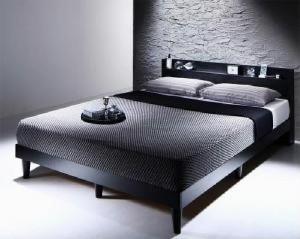 送料無料 棚・コンセント付きデザインすのこベッド マルチラススーパースプリングマットレス付き ブラック ダブルベッド 黒