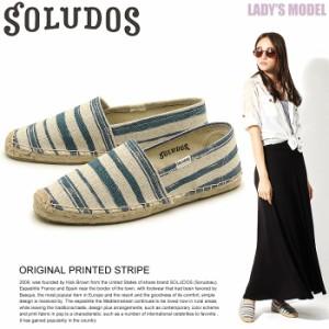 ソルドス SOLUDOS オリジナル プリンテッド ストライプ スリッポン キャンバス 靴 レディース