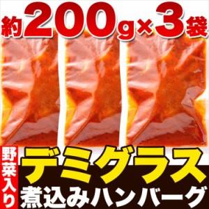 じっくり煮込んだデミグラス煮込みハンバーグ約200g×3袋/送料無料/メール便