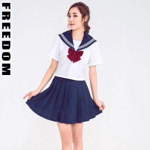 d75e6ed94e2b3 コスプレ 衣装 セーラー服 セクシーコス ハロウィン☆定番シンプルセーラー!リボン使い白紺セーラー服