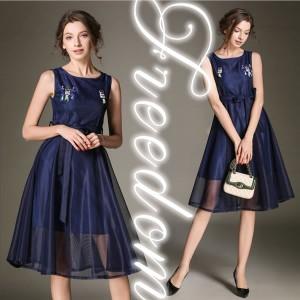 741b4fae234d9 セール ドレス 結婚式 パーティー 大きいサイズ☆胸元ブローチダブルチュールドレスワンピース☆S M L