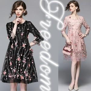 セール ドレス 結婚式 パーティー 大きいサイズ☆ 大人可愛い!花柄刺繍ドレスワンピース