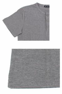 メール便送料無料 Tシャツ メンズ 無地 ヘンリーネック 4つボタン スラブ織 7分袖 半袖 カットソー 2018春新作  ネコポス / hit_d