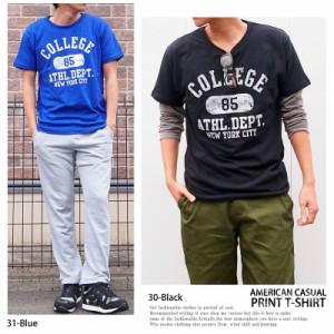 メール便送料無料 Tシャツ メンズ 半袖 プリント ロゴ アメカジ カレッジロゴ 半袖Tシャツ カットソー ネコポス / hit_d ゆうパケ