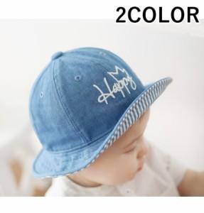 f68aa76409ab6 ベビー帽子 ベビーハット ベビーキャップ デニムハット ぼうし 子供用 幼児 キッズ ロゴ刺繍 男の子