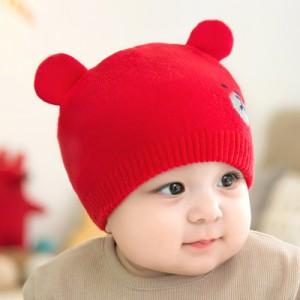 10bcb4d11489a ベビー用ニット帽 ニットキャップ 耳付き帽子 クマ耳 子供用 キッズ ぼうし 防寒