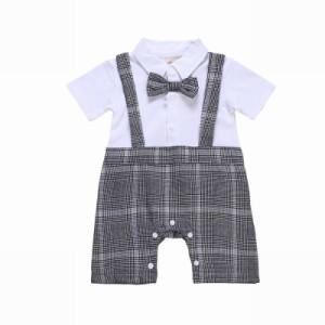 55777cf655326 カバーオール ベビー 赤ちゃん 半袖 半ズボン 蝶ネクタイ チェック柄 重ね着風 サスペンダー風 ワイシャツ
