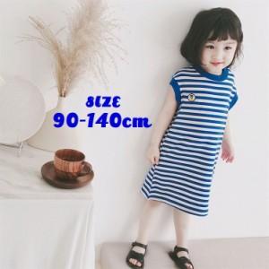 Tシャツワンピース 半袖 キッズ ジュニア ベビー 子供 女の子 ボーダー ロング 膝丈 ワッペン かわいい チュニック ブルー